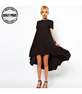 Irregular black chiffon dress