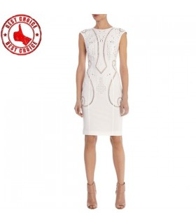 Open work modern white dress