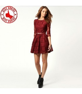 Red lace sunflowers dress