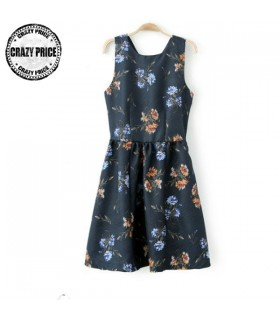 Retro print color floral dress