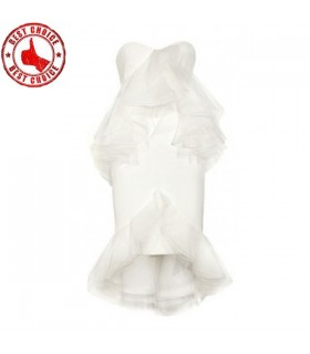 Modern slim organza ruffle white dress