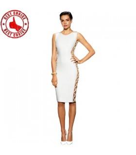 Weiße schicke Seite verschönert Kleid