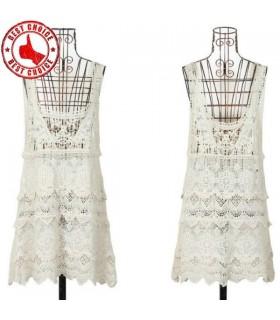 Floral boho crochet lace mini dress