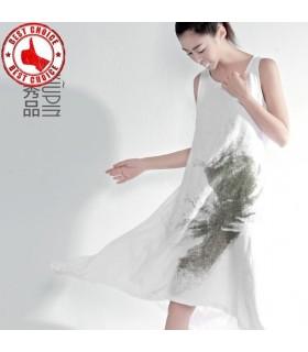 Handgemalte japanische Leinen Baumwolle Kleid