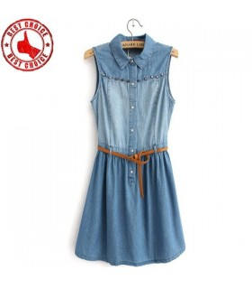 Casual Patchwork Nieten Denim Kleid