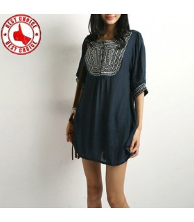 Ethnic embroidery linen dark blue top