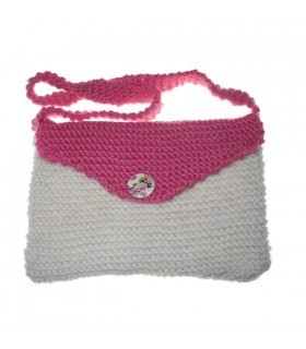 White and pink wool bag
