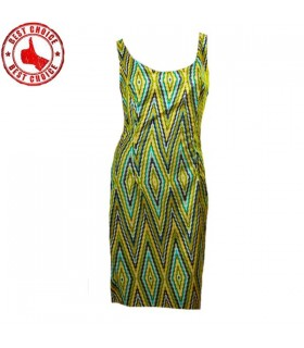Satin geometric print dress