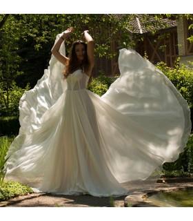 Soie naturelle robe de mariage de rêve de textile de luxe