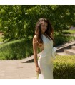 Deep V-neck super sexy silk wedding dress
