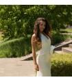 Tiefer V-Ausschnitt super sexy Seide Brautkleid