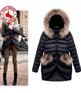 Winter coat women raccoon fur slim jacket