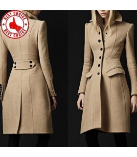 Flannel winter long solid camel wool blend coat