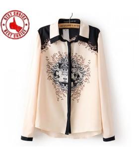 Chiffon Vintage camicia camicetta casuale
