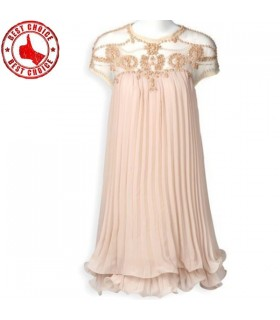 Apricot short pleated chiffon dress