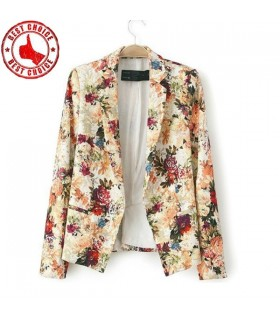 Leaves print blazer