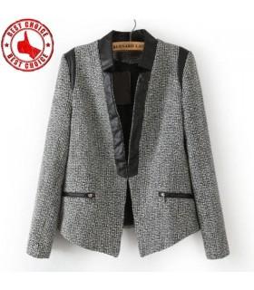 Patchwork fermeture à glissière poche faux blazers de mode en coton mélangé