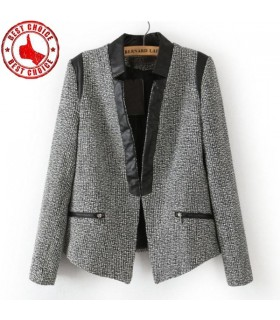Patchwork zipper fake pocket cotton blend fashion blazers