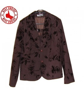 Brown velvet flowers blazer