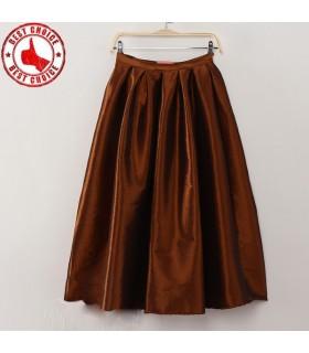 Vintage jupe de taffetas brun plissé