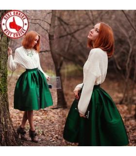 Vintage taffetas plissé jupe verte