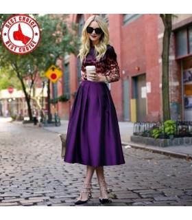 Vintage jupe en taffetas lilas plissée