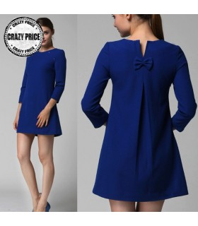 Blue casual loose three quarter arm dress
