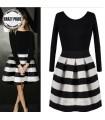 Vestito a strisce in bianco e nero