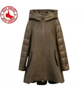 Hooded army green wool coat