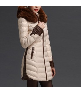 Lady like rabbit fur collar jacket
