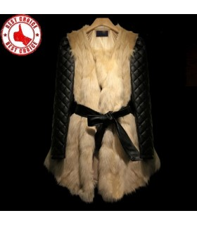 Rabbit fur stitching fancy jacket