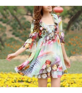 Luxury flowers printed chiffon dress