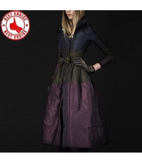 Fashion duck feather thin long jacket