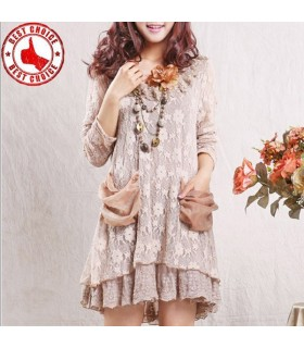 Hollow out vintage lace long sleeve dress