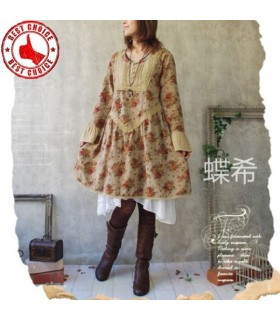 Natural rose vintage casual oversized dress