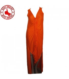 Orange sexy jersey long dress