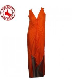 Orange sexy jersey long dress