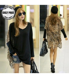 Loose leopard long sleeve tops