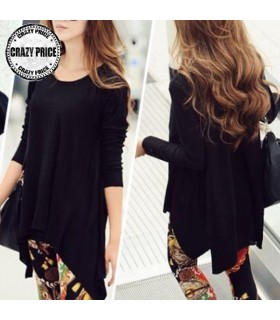 Long sleeve irregular loose casual black T-Shirt