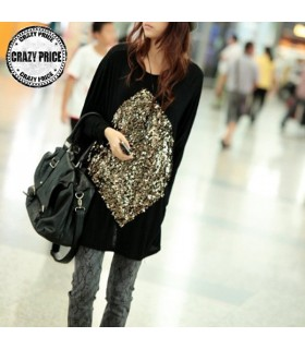 Casual loose long sleeve sequin t-shirt