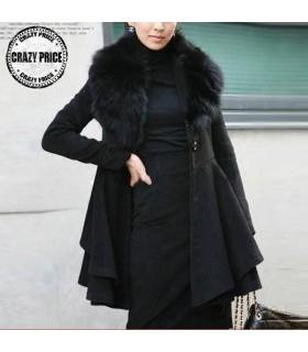 Artificial fur lining soft black coat
