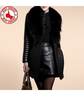 Fashion black artificial fur collar coat