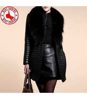 Mode schwarzen Kunstpelzkragen Mantel