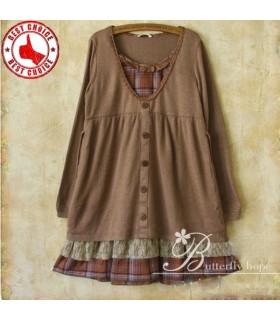 Braun hochwertige Mode Baumwolle lose Kleid