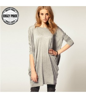 Loose long sleeves grey t-shirt