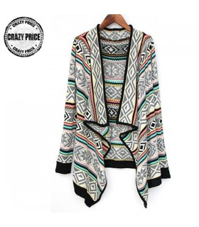 Colorblock feminine knitted cardigan