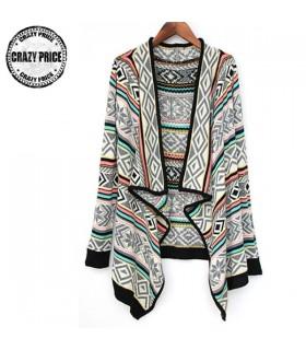 Colorblocking féminin cardigan tricoté