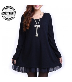 Oversized Pullover Chiffon blauen Kleid