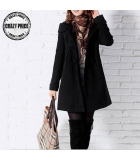 Hooded black chic coat