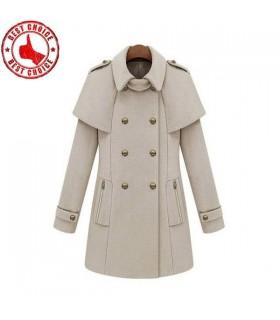 Cape Stil beige Mantel